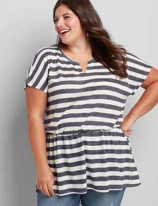 Lane Bryant Striped Notch-Neck Tunic