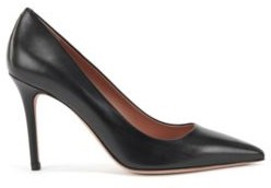 HUGO BOSS Pointed Toe Court Shoes In Italian Leather - Black