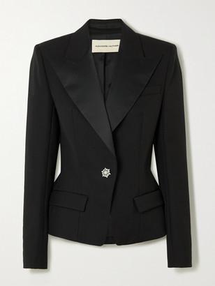 Alexandre Vauthier Crystal-embellished Satin-trimmed Grain De Poudre Wool Blazer - Black