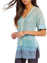 Sigrid Olsen Marled Ombre V-Neck Short Sleeve Sweater
