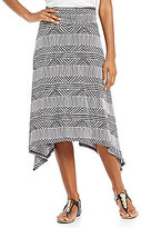 I.N. Studio Stripe Print Knit Shirred Waist Pull-On Skirt