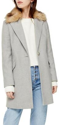 Topshop Monica Faux Fur Collar Coat