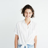 Madewell Short-Sleeve Tie-Front Shirt in Abbi Stripe