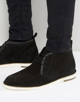 Asos Desert Boots in Black Suede With Leather Detailing