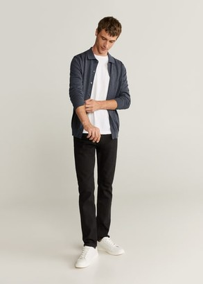 MANGO Cotton cashmere-blend knit shirt