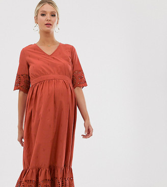Mama Licious Mama.Licious Mamalicious maternity midi smock dress with broderie in rust-Red