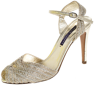 Ralph Lauren Gold Textured Fabric Double Knot Peep Toe Ankle Strap Sandals Size 38