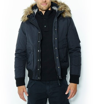 Schott Short Winter Jacket with Faux Fur Hood and Pockets