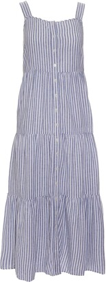 Madewell Stripe Button Front Tiered Midi Dress