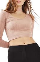 Topshop Women's Long Sleeve Choker Collar Crop Top