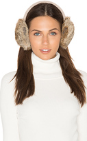 Hat Attack Classic Knit & Rabbit Fur Earmuffs in Beige.