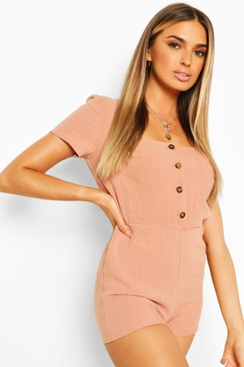 boohoo Linen Button Front Playsuit