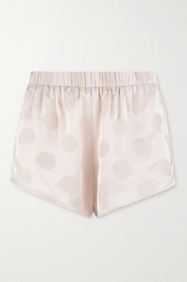 LOVE Stories Cotton Candy Polka-dot Satin-jacquard Pajama Shorts - Ivory