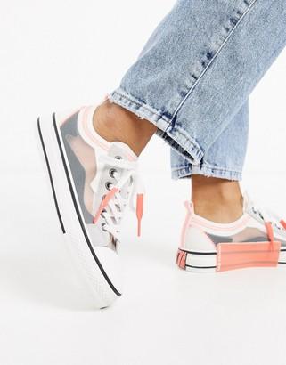Ash Vertu flatform ripstop sneakers in grey and pink