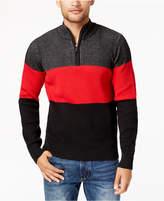 Sean John Men's Colorblocked Plated-Knit Sweater