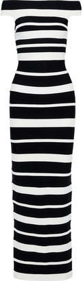 Herve Leger Off-the-shoulder Striped Bandage Gown