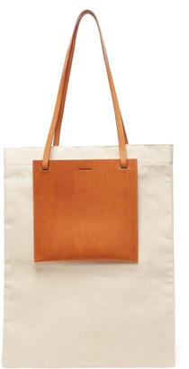 Jil Sander Slip-pocket Leather And Canvas Tote Bag - Mens - Cream