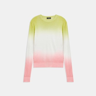 Theory Dual Ombre Crewneck Sweater in Linen-Viscose
