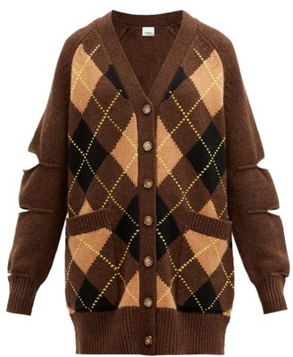 Burberry Agnese Cutout Argyle-check Wool-blend Cardigan - Brown Multi