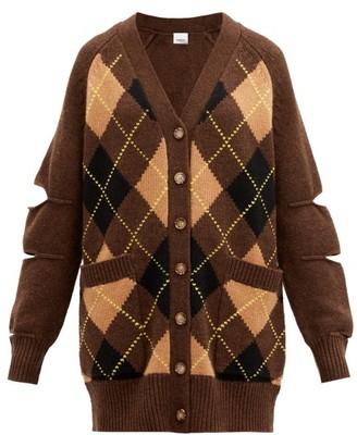 Burberry Agnese Cutout Argyle-check Wool-blend Cardigan - Brown Multi