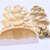 Tony Beauty Hair Russian Blonde 13x4 Lace Frontal With Weaves Body Wave #613 Bleach Blonde Human Hair 3 Bundles With Lace Frontal 4Pcs Lot (24 with 26 28 30)