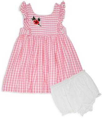 Laura Ashley Baby Girl's 2-Piece Ruffle Gingham Cotton Dress & Bloomers Set