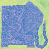 Oopsy Daisy Fine Art For Kids elephant and bird stretched canvas art by stephanie bauer, 14 by 14-inch