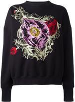 Alexander McQueen embroidered flower sweatshirt - women - Cotton - 42