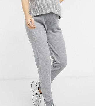 Fashionkilla Maternity knitted rib sweatpants in gray