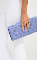PrettyLittleThing Baby Blue Quilt Studded Clutch