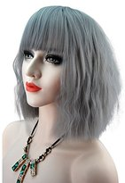 eNilecor Women Short Bob Fluffy Hair Full Wigs with Bangs Heat Resistant Kinky Straight Custom Cosplay Party Wigs (Grey)