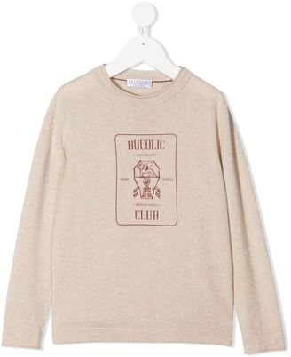 BRUNELLO CUCINELLI KIDS Graphic-Print Cashmere Sweatshirt