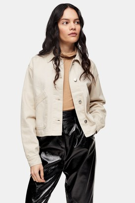 Topshop Womens Petite Considered Ecru Boxy Crop Shacket - Ecru