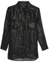Kate Moss Equipment Striped Metallic Silk Top