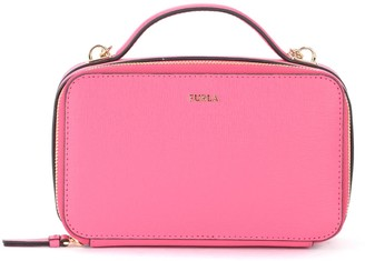 Furla Babylon M Bandolier Bag In Pink Leather With Shoulder Strap And Handle