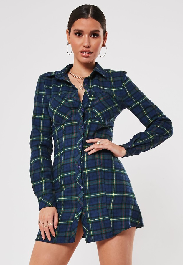 Missguided Navy A Line Check Print Shirt Dress