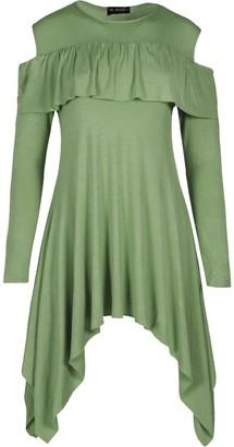 Fashion Star Womens Peplum Frill Cold Cut Shoulder Hanky Hem Flared Swing Dress Top Khaki