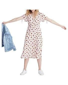 Madewell Raglan Sleeve Midi Dress With Ruffle