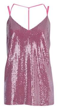 Dorothy Perkins Womens Pink Sequin Knotback Camisole Top, Pink