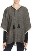 Lauren Ralph Lauren Tweed Fringe Poncho with Leather Trim