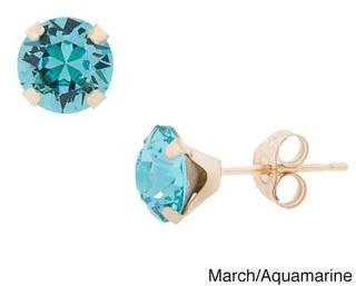 Pori 14k Gold Round-cut Crystal Elements Birthstone Stud Earrings