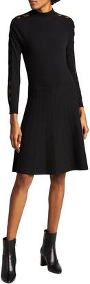 Lela Rose Long-Sleeve Knit Fit-&-Flare Dress