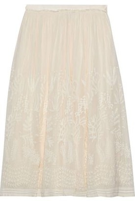 Vanessa Bruno Lise Embroidered Chiffon Midi Skirt