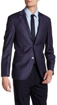 Ike Behar Navy Blue Plaid Double Button Notched Lapel Wool Jacket