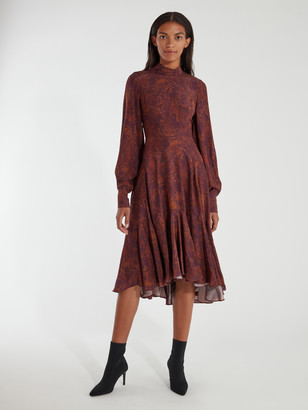 AMUR Wilder Blouson Sleeve Silk Midi Dress
