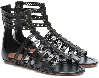 Alaia Laser-cut leather sandals