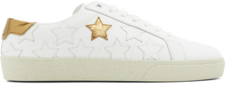 Saint Laurent White and Gold Star Court Classic Sneakers