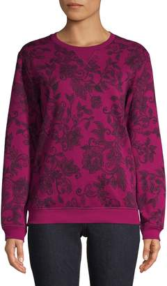 Karen Scott Petite Floral-Print Cotton-Blend Sweatshirt