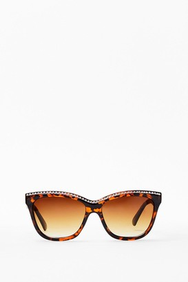 Nasty Gal Womens Leopard Diamante Edged Sunglasses - Brown - ONE SIZE, Brown