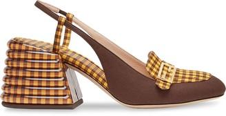 Fendi Promenade checked slingback loafers